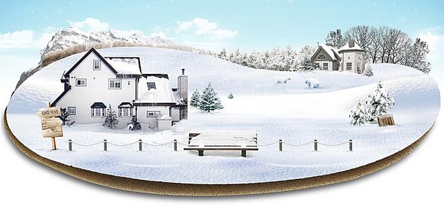 雪中的树高清背景素材下载 千库网
