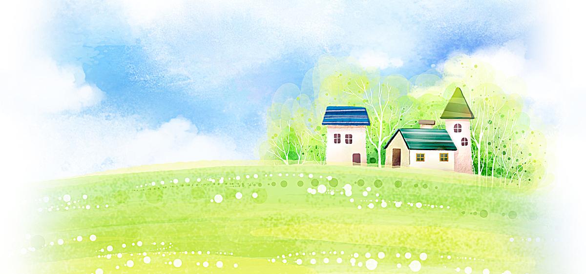 蓝天白云房子水彩手绘喷绘背景海报banner