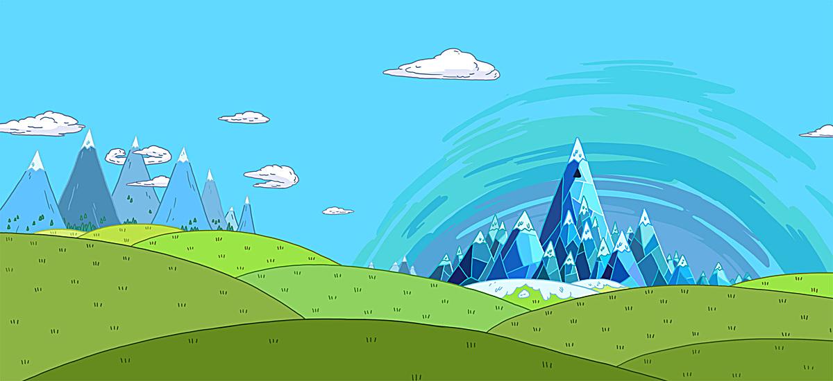 手绘蓝天白云绿山背景