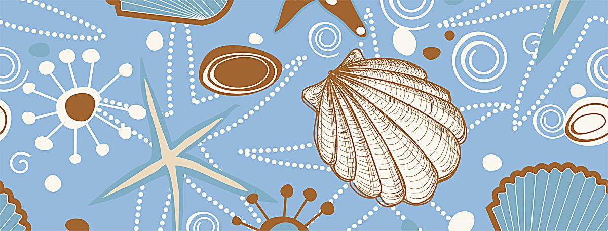 卡通手绘贝壳banner背景psd素材-90设计