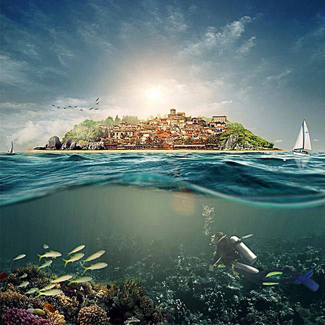 简约海底风景背景图
