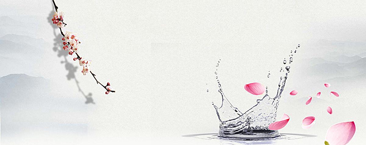 古风中国风桃花水纹背景psd素材-90设计