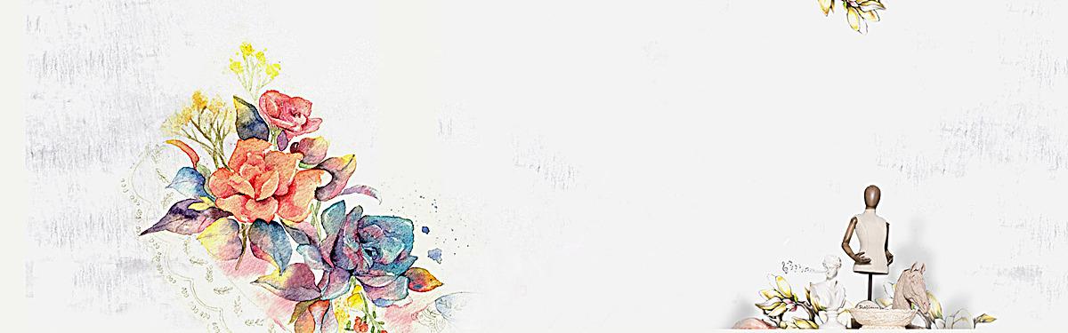 英伦风手绘鲜花背景