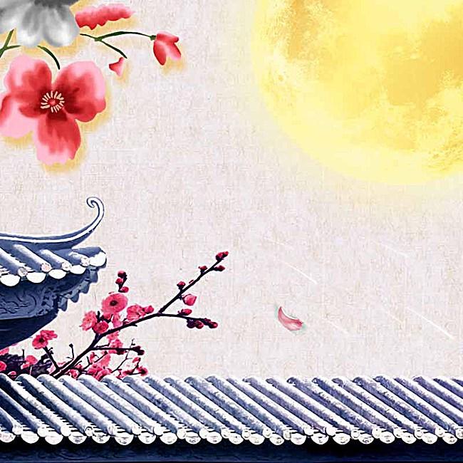 腊梅屋檐建筑月亮主图背景