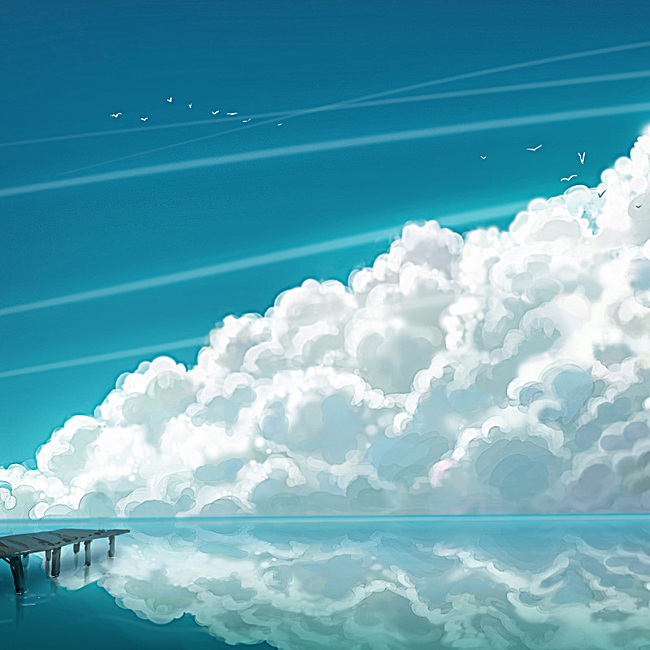 手绘湖水云朵唯美背景
