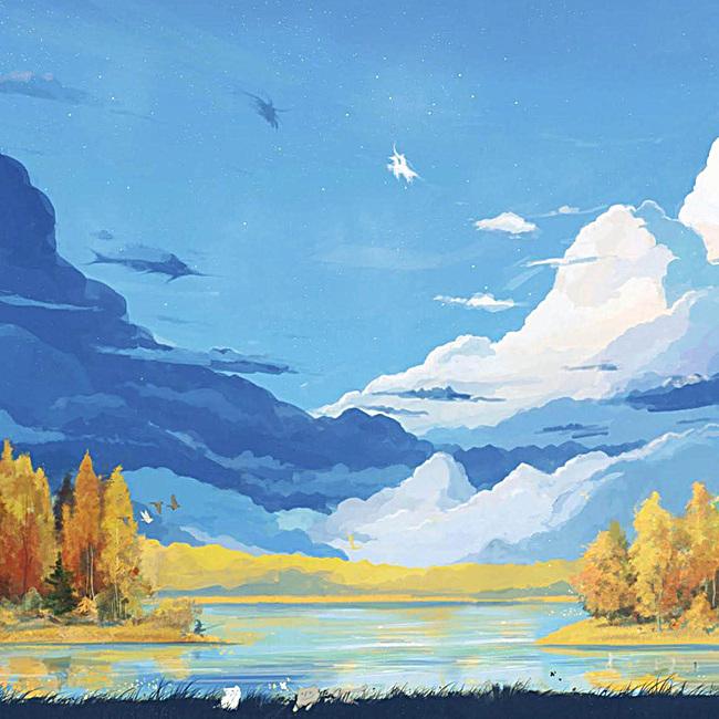 图片 > 【jpg】 水彩画蓝天白云山水  分类:卡通/手绘 类目:其他 格式