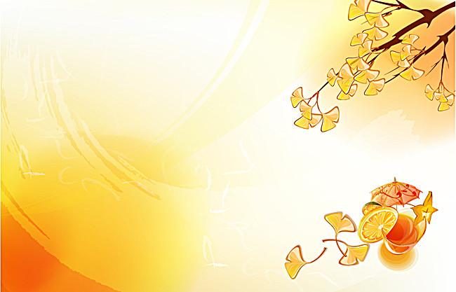 黄色手绘银杏叶背景