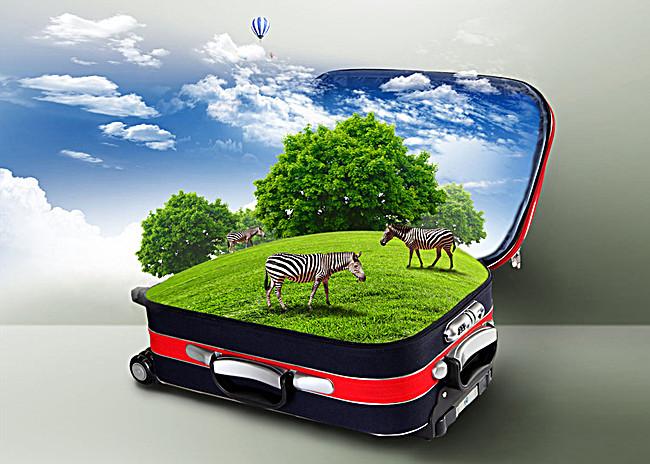 创意行李箱草原斑马背景图片免费下载_广告背