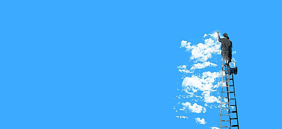 手绘蓝天白云人梯子背景