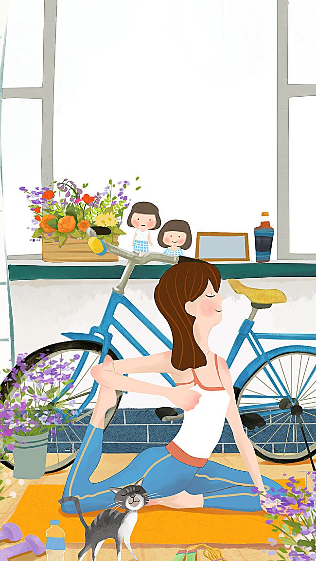 图片 > 【jpg】 瑜伽h5背景  分类:卡通/手绘 类目:其他 格式:jpg