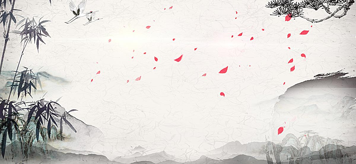 中国风 水墨 山水 柱子 海报banner             此素材是90设计网官