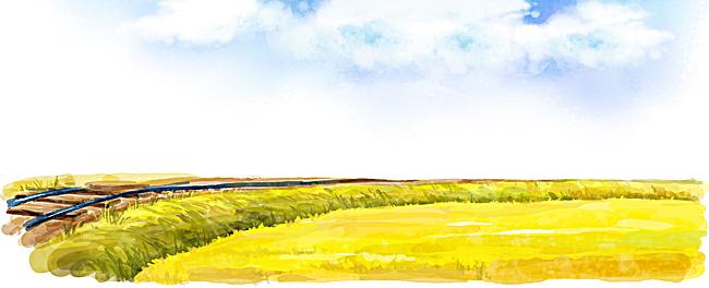 手绘稻田天空背景