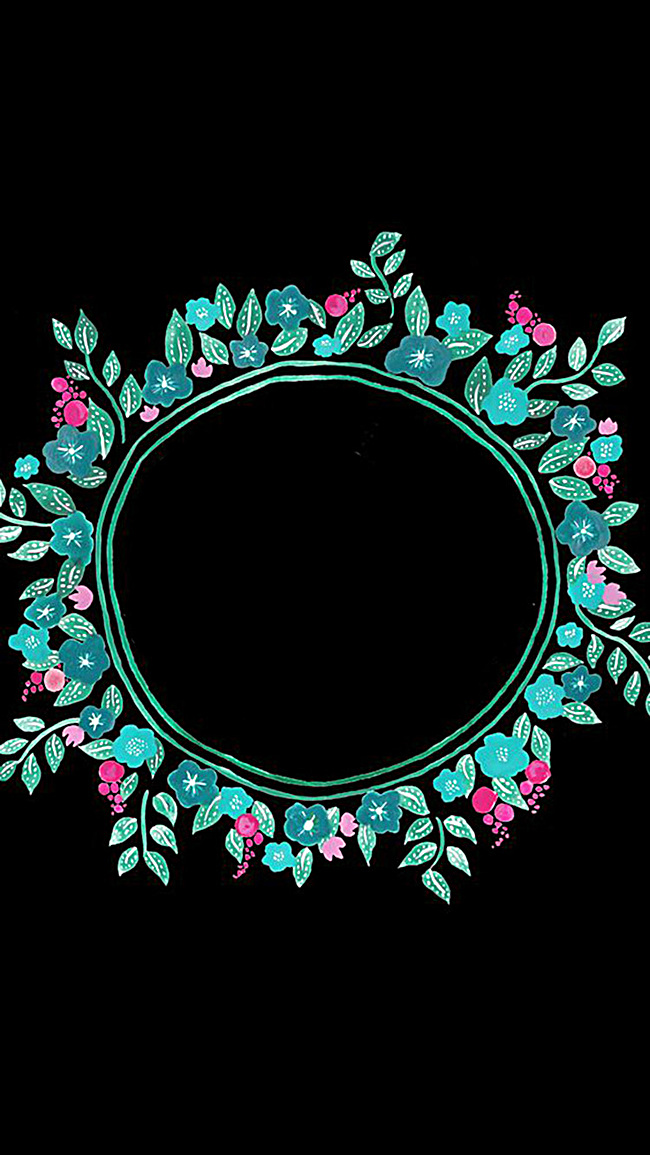 黑色手绘花圈h5背景jpg素材-90设计