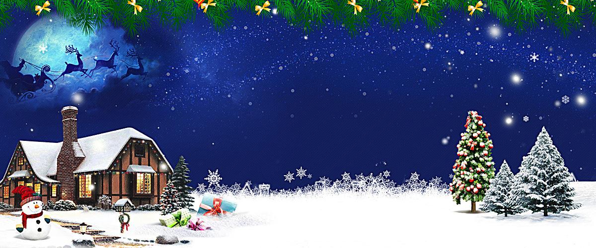 蓝色夜空圣诞海报banner图片背景素材免费下载,图片_5