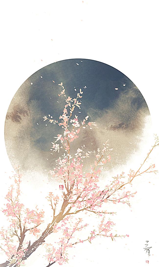 文艺小清新手绘月亮桃花背景