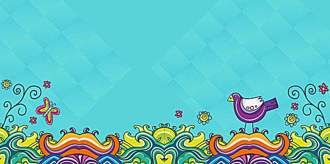 蓝色卡通七彩童装海报背景