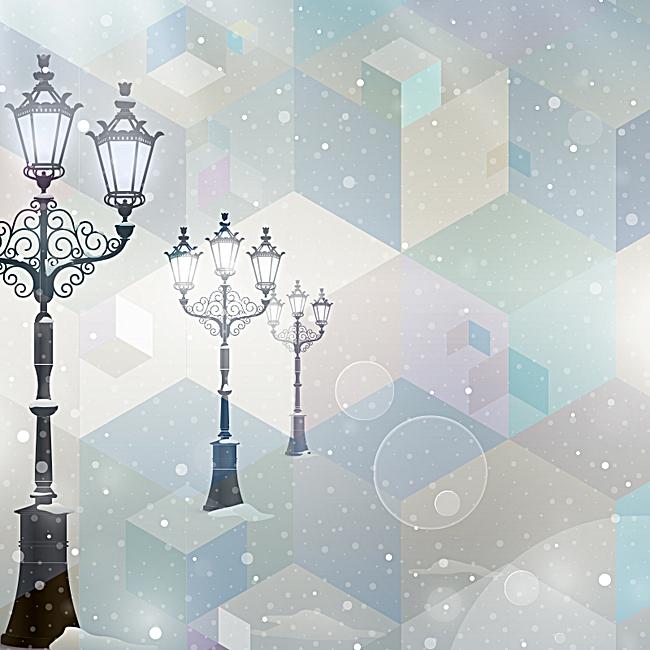 白色雪花欧式复古路灯