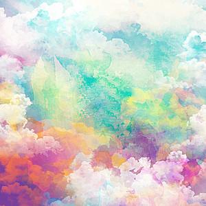 水彩云朵高清背景素材下载 千库网