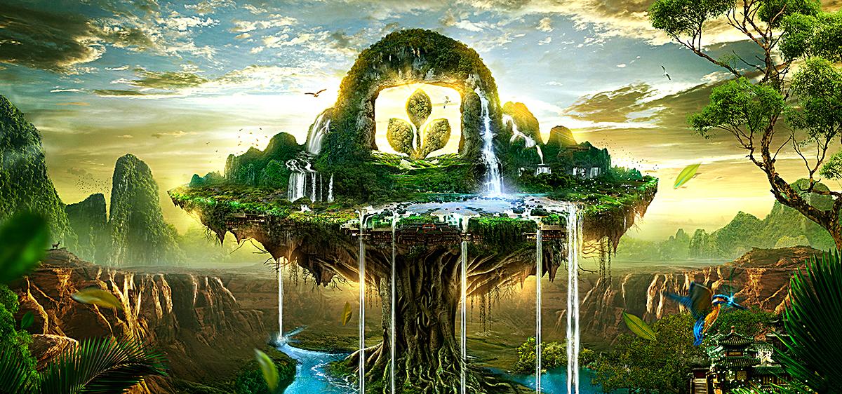 科幻海岛背景 科幻背景梦幻背景 森林 树林             此素材是90