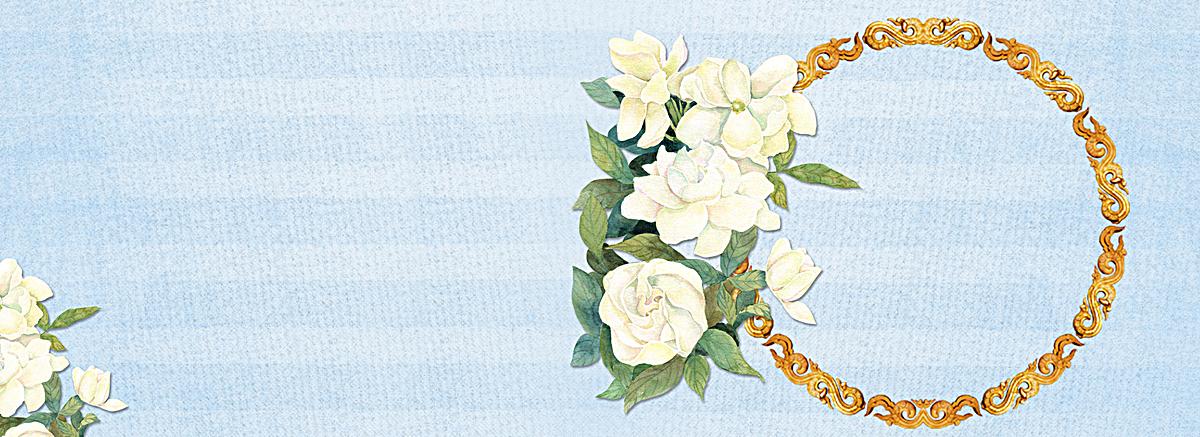 蓝色白玖瑰欧式复古边框banner背景