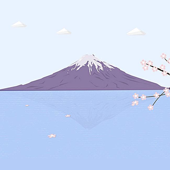 手绘富士山主图背景素材