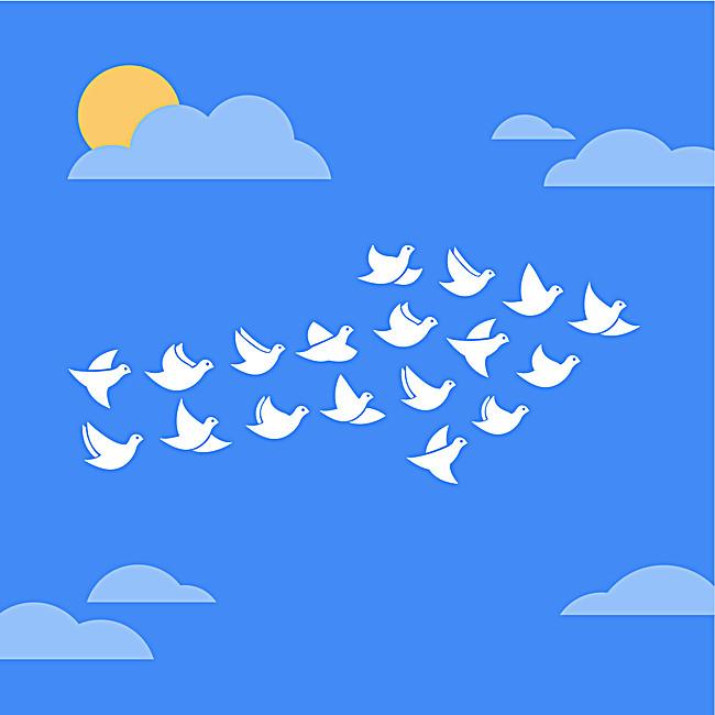 图片 卡通/手绘 > 【psd】 卡通蓝天白鸽背景素材  90设计提供卡通