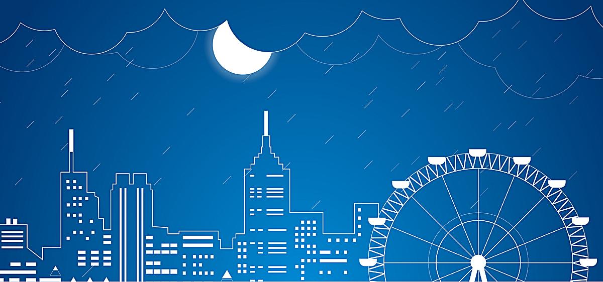 卡通手绘建筑夜景