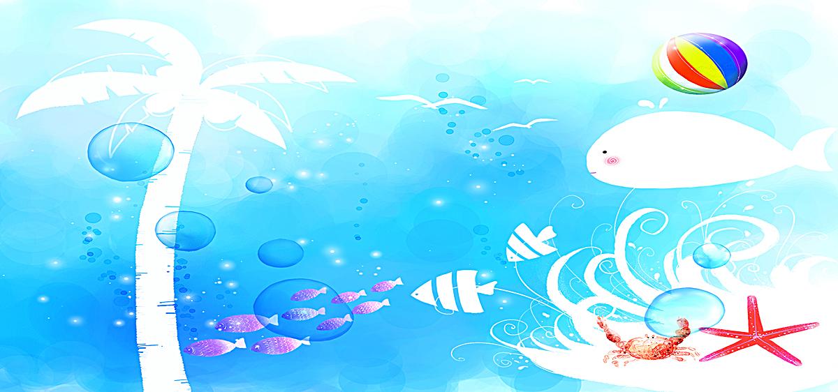 手绘海豚背景