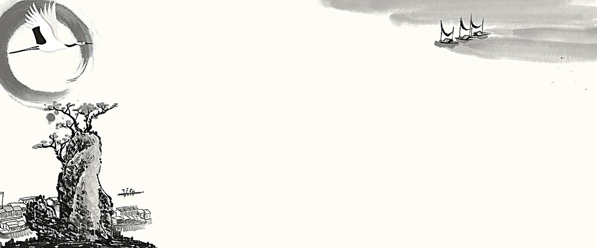 唯美古风山水边框手绘