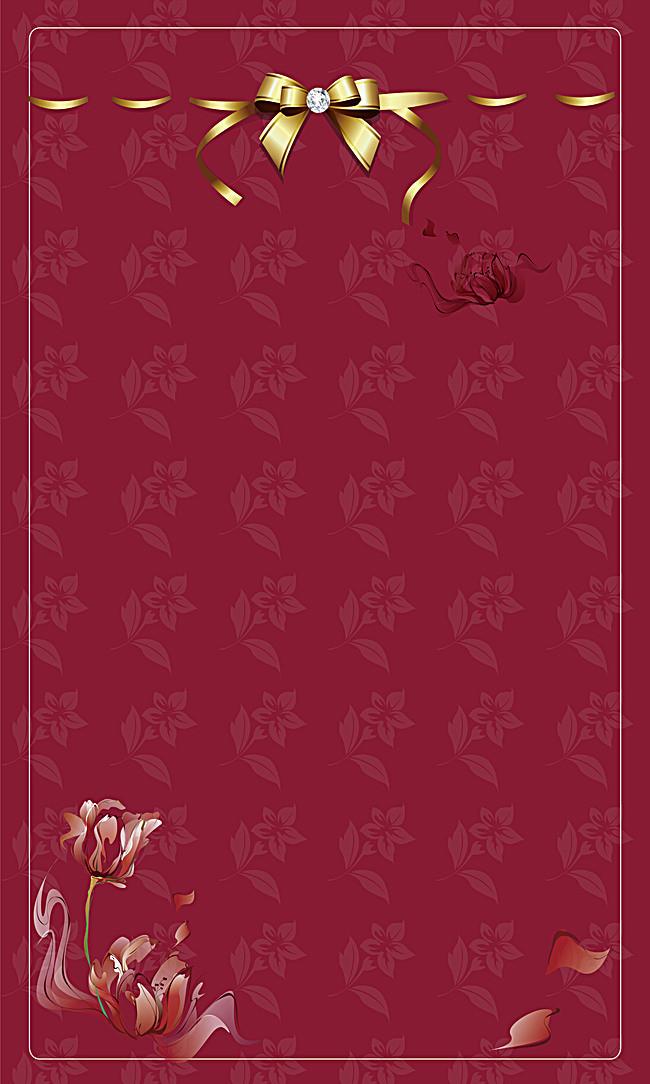 欧式底纹花边红色卡片背景