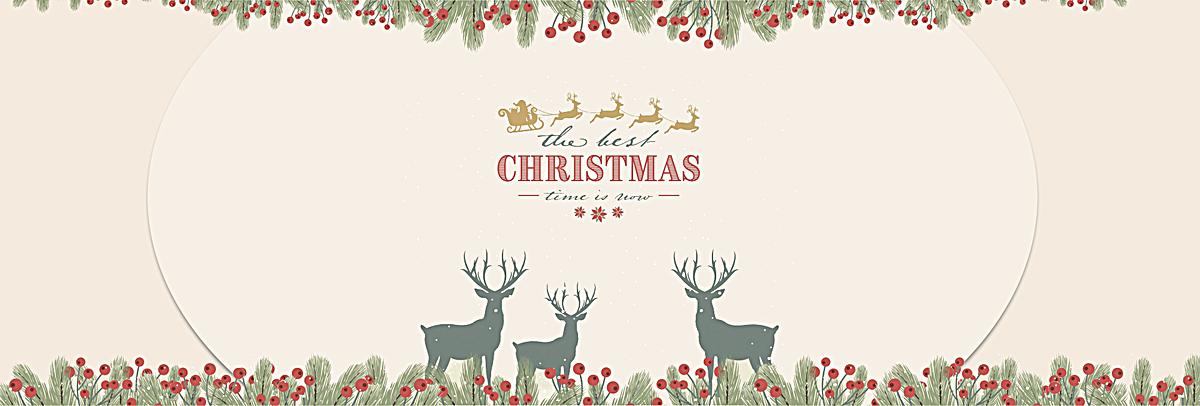 圣诞麋鹿卡片手绘背景