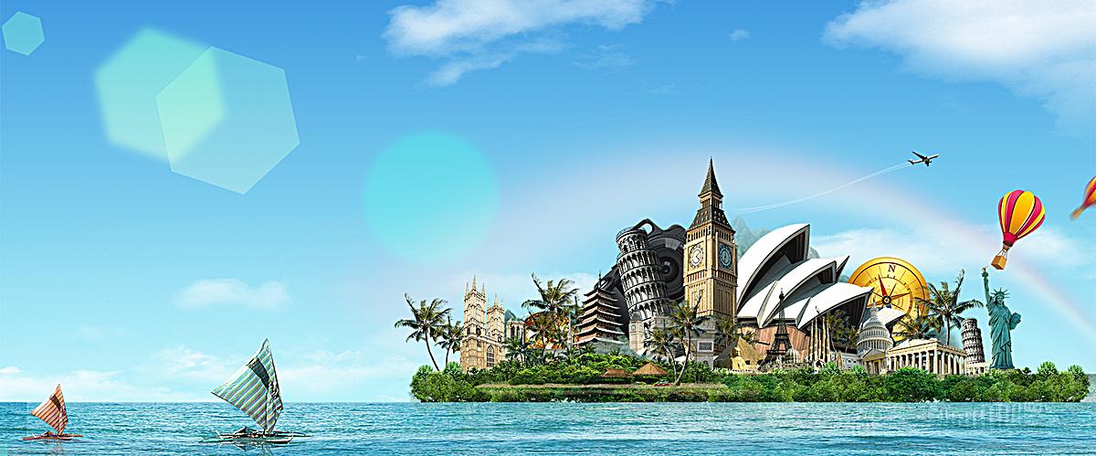 手绘卡通蜡笔画风格海上的小船banner背景图片免费图片