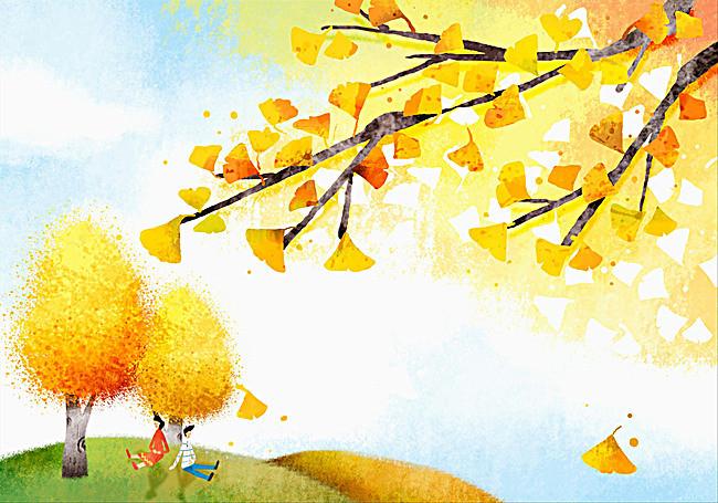手绘银杏树背景素材