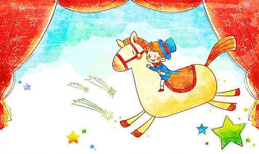 儿童骑马高清背景素材下载 千库网