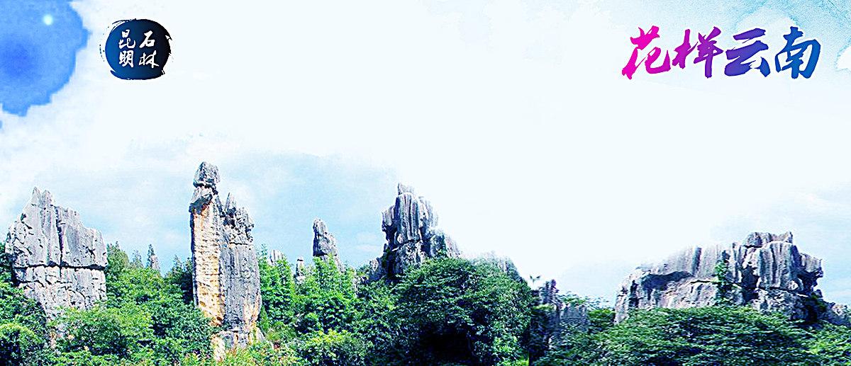 云南昆明石林旅游海报banner背景