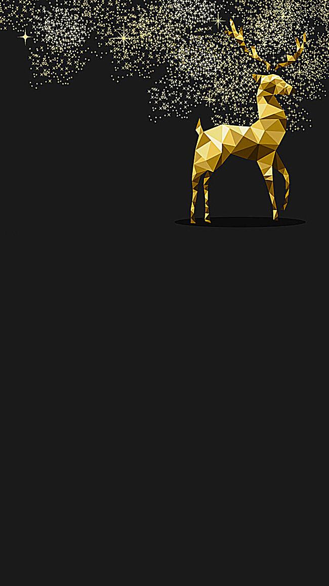 高清金色的鹿银色星空h5背景素材下载_1080*1920像素