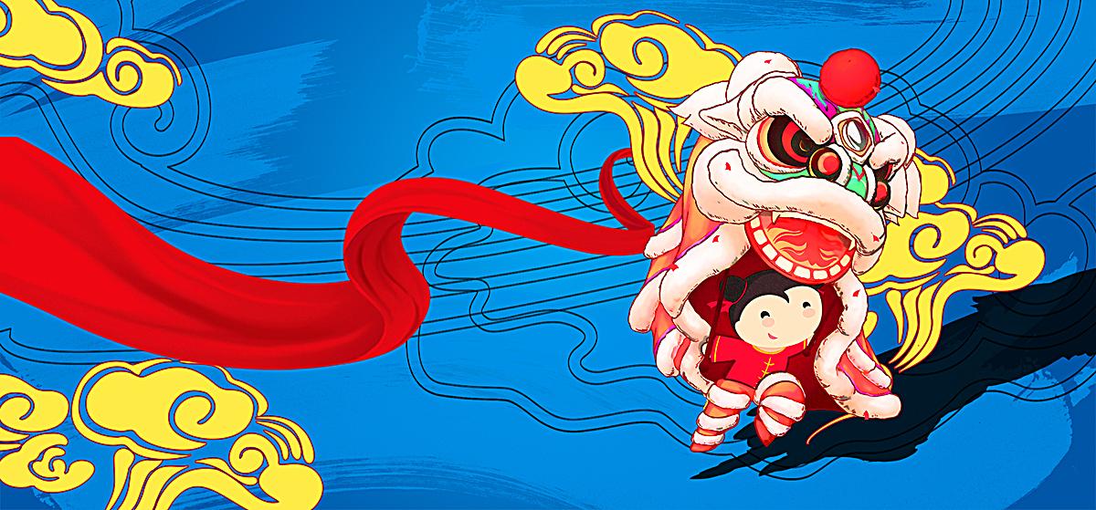 中国风祥云卡通手绘淘宝海报背景