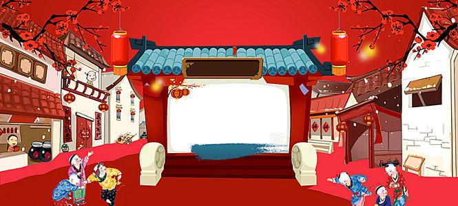 边框中国风红色喜庆电商海报背景