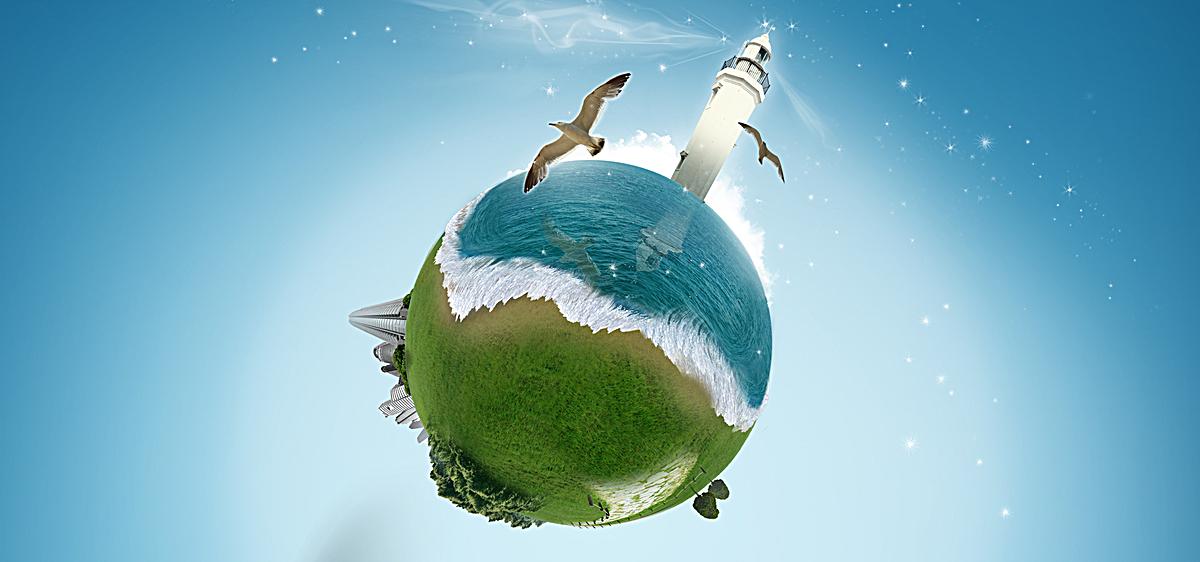 爱护地球环境简约海报背景psd素材-90设计图片