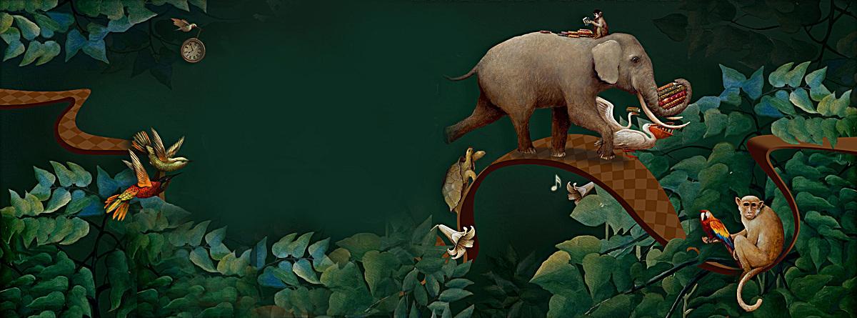 动物世界绿色淘宝海报背景