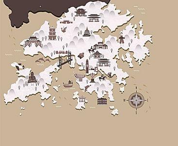 手绘矢量旅游香港景点地图灰色海 (2444*2000)