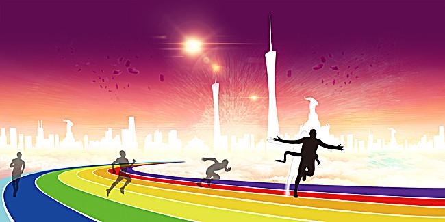图片 卡通/手绘 > 【psd】 卡通跑道人物赛跑海报背景模板  90设计