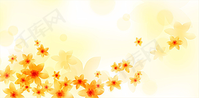 梦幻简约黄色花朵白底背景素材背景图片免费下载 广告背景 psd 千库网 图片编号4578726图片