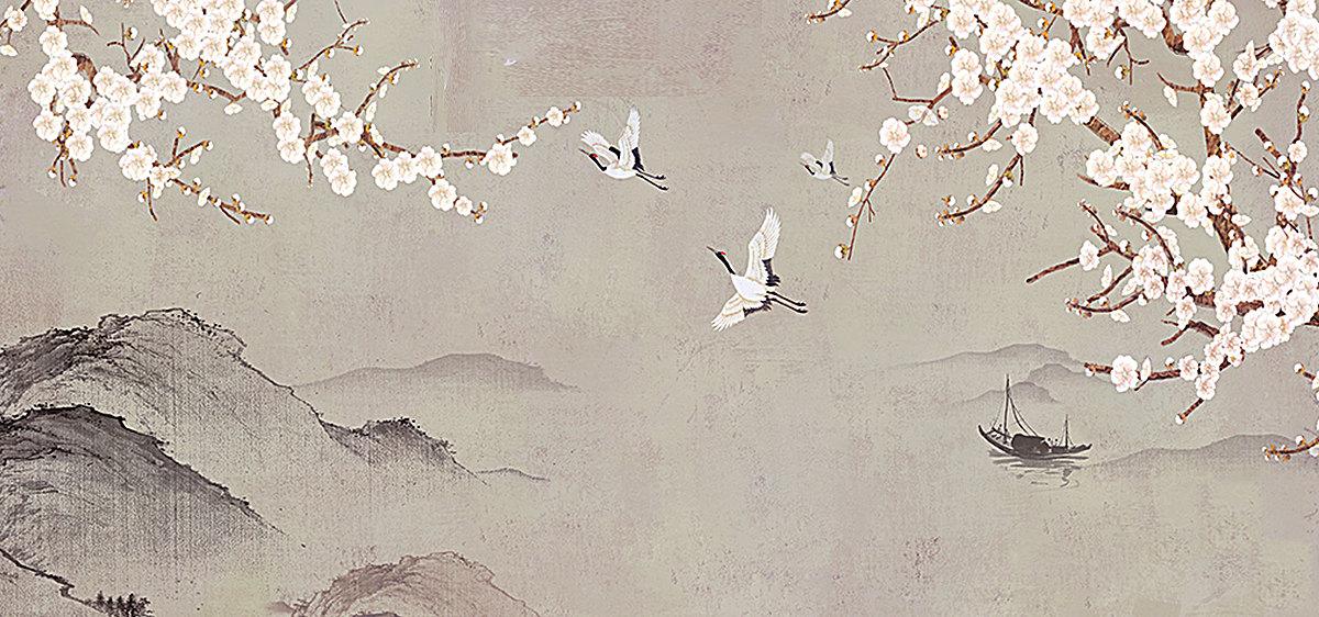 新中式手绘花鸟背景