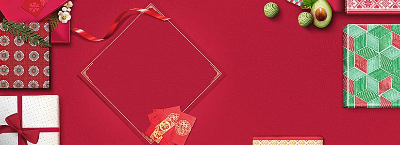 春节大气简约红色淘宝海报背景