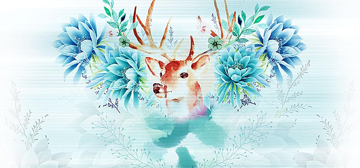 清新手绘鹿头花朵家居背景