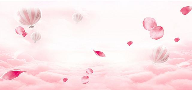 浪漫情人节粉色花瓣海报背景