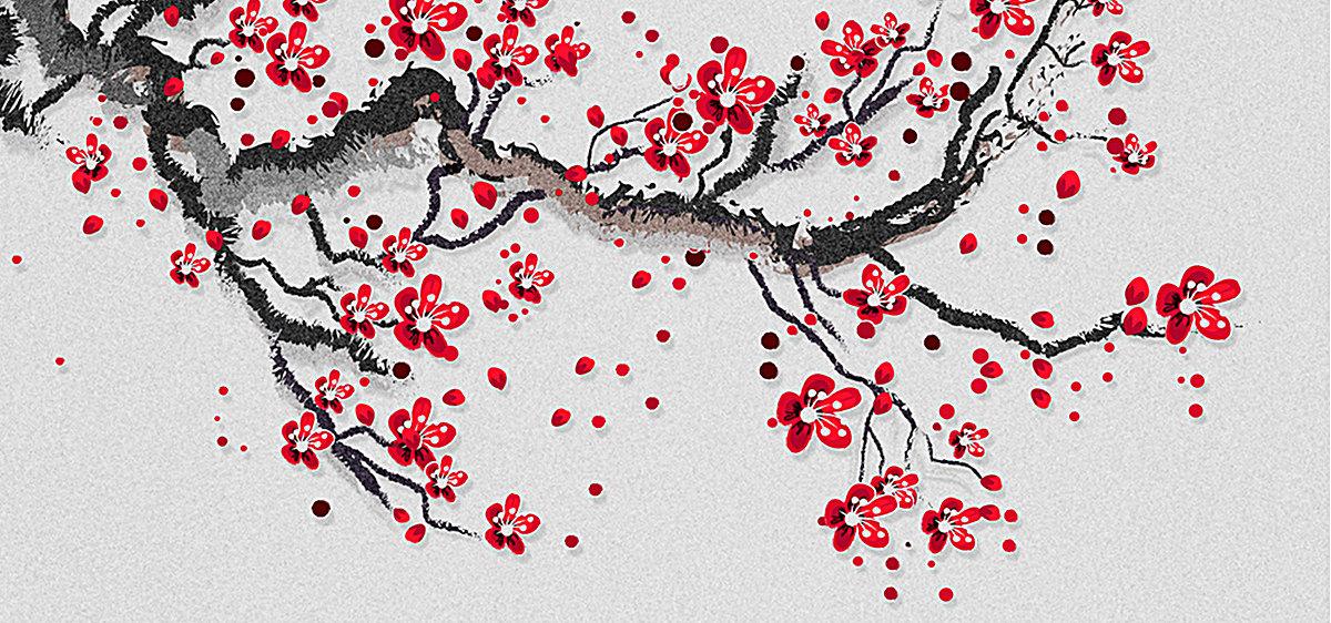 手绘梅花红梅中国风背景