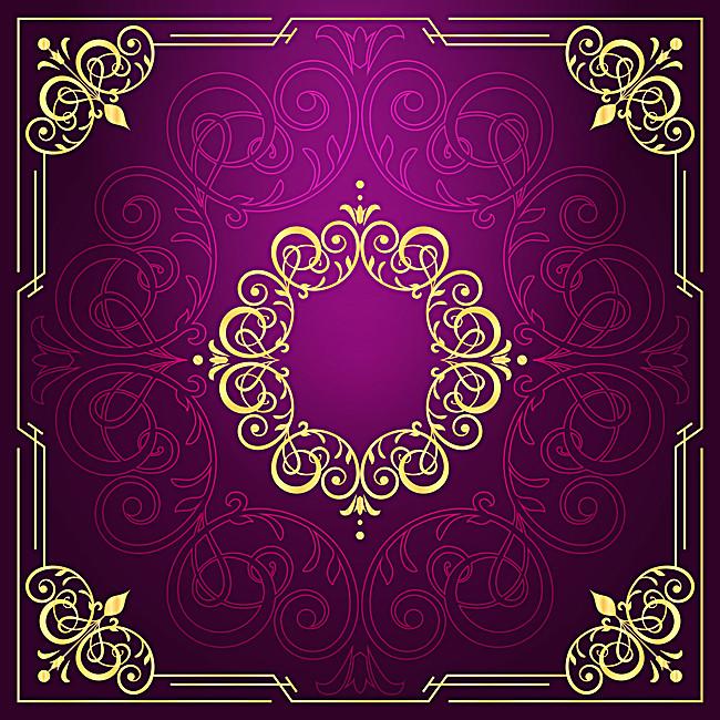 欧式金色典雅花纹紫色背景素材