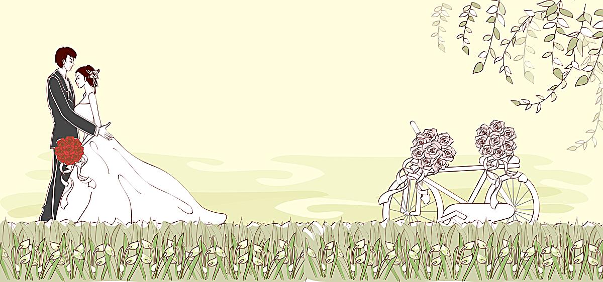 西式婚礼手绘黄色banner背景psd素材-90设计